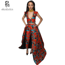 2017 autumn African dresses for women ankara clothing sets wax batik printing sexy short sleeve top+pants suit free shipping