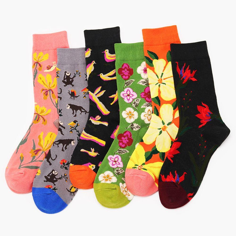Okdeals harajuku Men Women Unisex Flower Bird novelty Pattern socks Four Seasons Cotton Couple Socks Contrast cute socks women