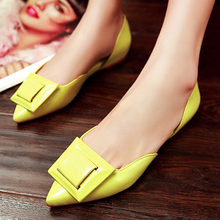 Women's Patent Leather Pointed Toe Slip-on Ballet Flats Genuine Leather Brand Designer Metal Buckle Female Single Shoes Calzados