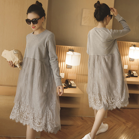 black cotton material ropa premama cloth 2016 spring fashion lace long maternity clothes plus size L-XXXL <font><b>positiekleding</b></font> image