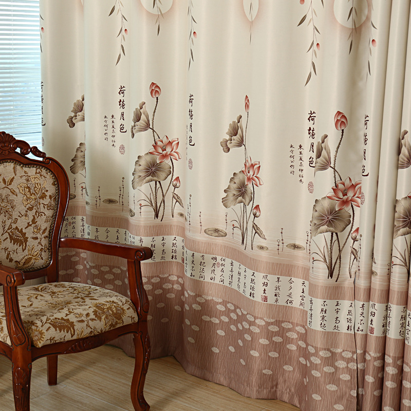 US $7.71 20% OFF|Lotus Moonlight Window Curtains for Living Dining Room  Bedroom High grade Curtain Tulle Chinese Style Modern Printing Window  402-in ...