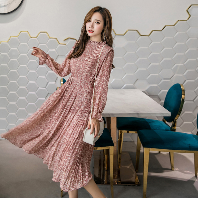 Elegant Stand Collar Floral Print Women Dress Full Sleeve Elastic Slim Waist Chiffon Spring A-line Long Dress