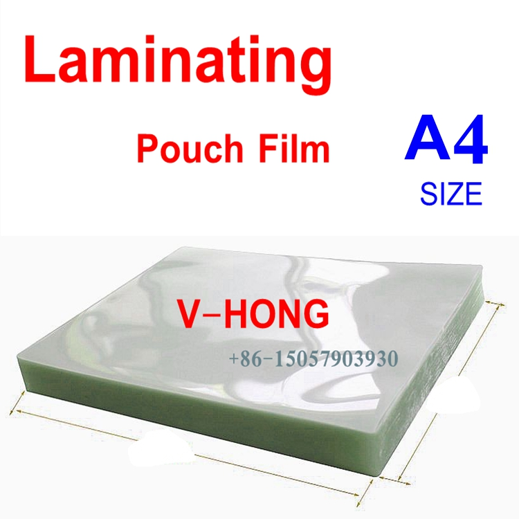 50mic(4mil) 5R A6 A4 Size PVC Clear Glossy 2Flap Laminating Pouch Film for Hot Laminator