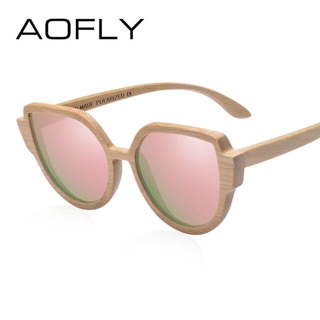 AOFLY BRAND DESIGN Sunglasses Womens Bamboo Polarized Sunglasses HAND MADE Bamboo Frame Classic Gafas de sol Shades UV400 AF608