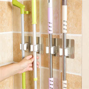 Image 2 - Creative קיר רכוב אחסון מתלה מקלחת חדר סמרטוט ארגונית מחזיק מברשת מטאטא קולב אחסון מדף מטבח כלי