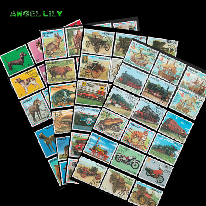 100 PCS/lot All Different Paraguay Postage Stamps With Post Mark In Good Condition For Collection All Big Size good condition butterfly stamp 200 pcs all different used postage stamps with postmark for collecting gifts