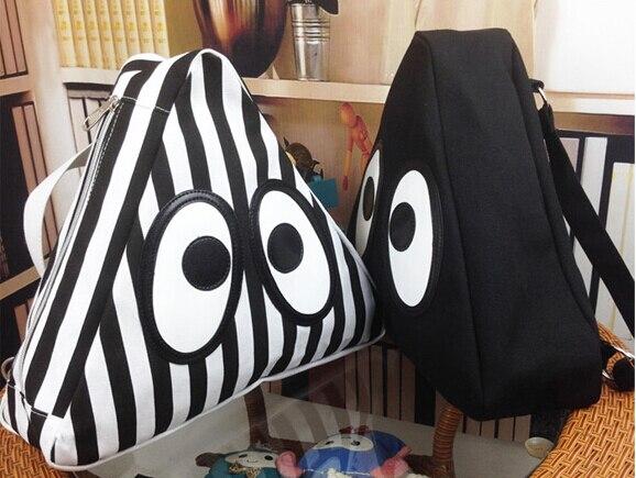 For Sale Triangle Design Cartoon Little Monster Women Backpack Black White Canvas Street Travel Bag Fashion