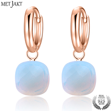 MetJakt Classic Natural Moonstone Drop Earrings Solid 925 Sterling Silver with Rose Gold Color Earring for Womens Fine Jewelry