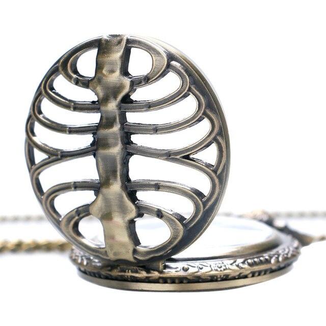 Antique Vintage Bronze Skeleton Spine Ribs Hollow Quartz Pocket Watch Cool Necklace Pendant Clock Chain Mens Womens Gift P105