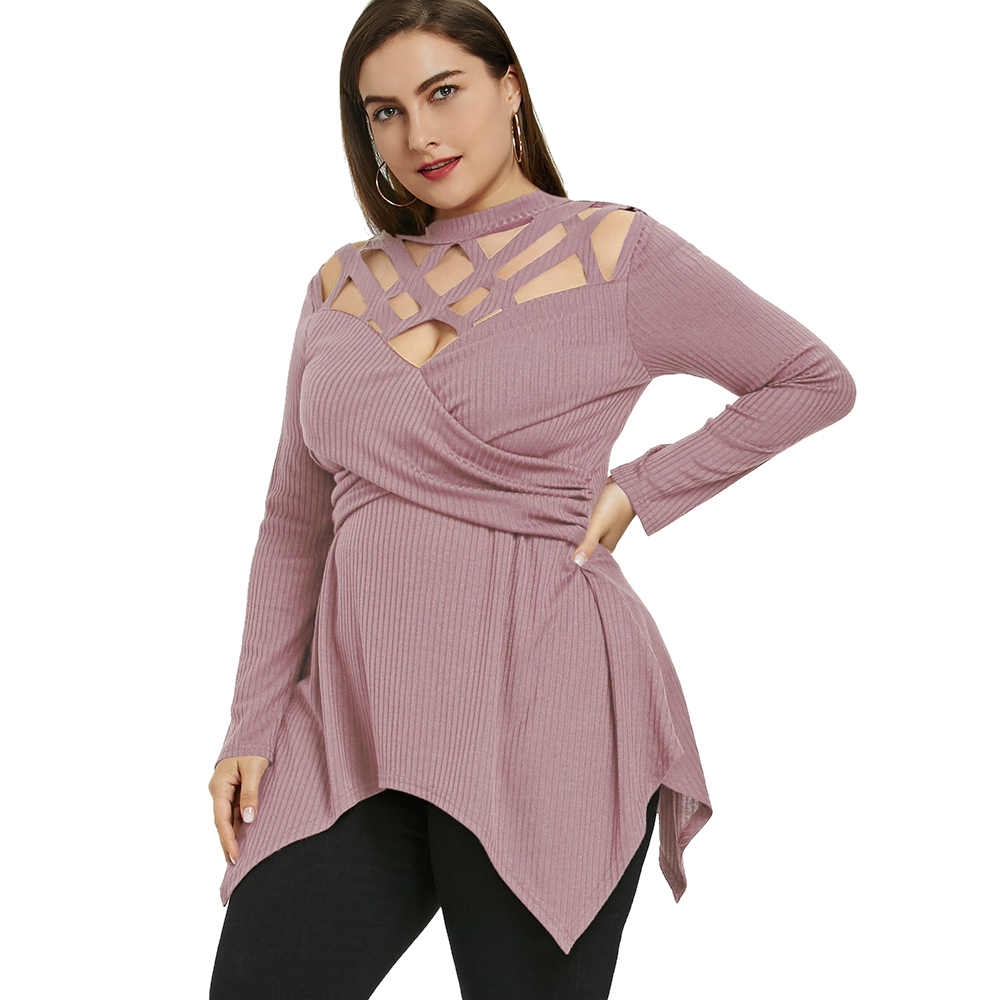f7a0be85ba1 ... Wipalo Plus Size 5XL Elegant Crossover Lattice Cutout Long Sleeve Tops  Femme Ladies Office Shirts Casual ...