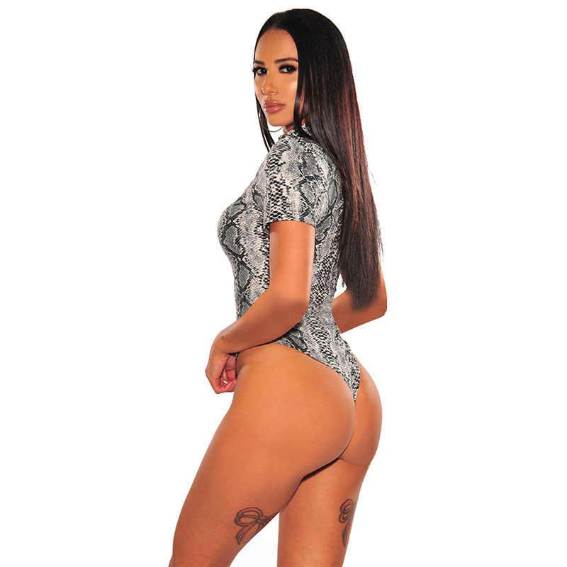 SEBOWEL 2020 Frau Nude Snake Print Kurzarm Body Sommer Sexy Wilden Stil Weibliche Bodycon Bodys für Damen Körper Tops