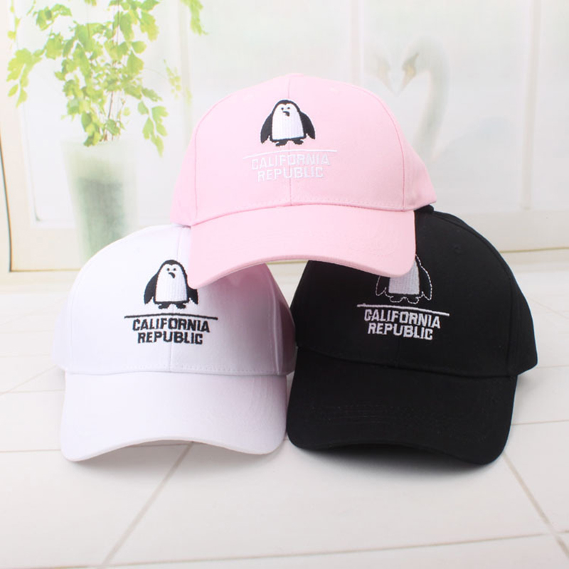 9120ba7921be Fashion California Republic letter embroidery baseball cap cute penguin  visor bone hats for women ladies outdoor party-in Baseball Caps from  Apparel ...