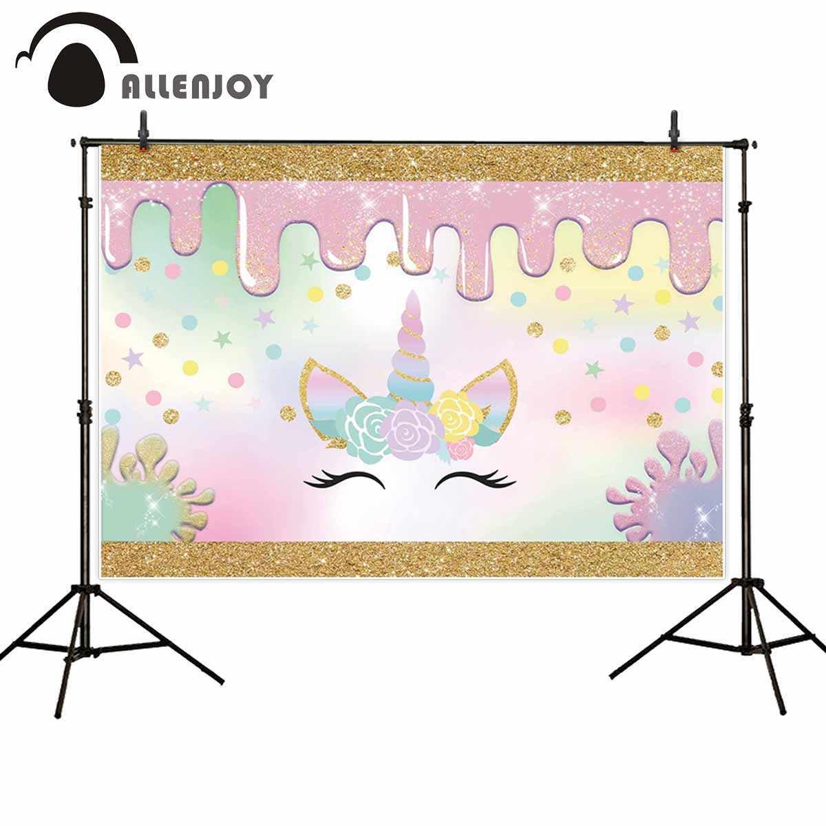 Allenjoy ユニコーンスライム写真の背景カラフルな誕生日パーティーの背景 photobooth の写真撮影の小道具パーソナライズ
