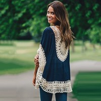 TAUPIN AM Handmade Crochet Tops Sexy Ladies Blouse Lace Long Sleeve Beach Cover Up Women Blouses