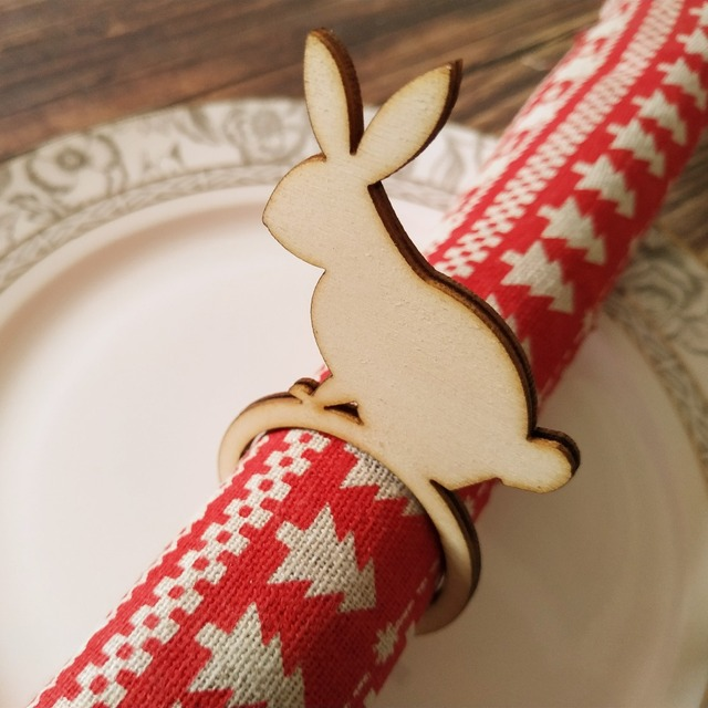 Us 699 12pcs Wooden Wood Easter Bunny Rabbit Napkin Ring Laser Cut Diy Craft Party Decoration Easter Wood Natural Rustic Ornaments In Party Diy