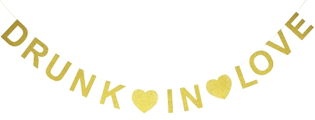 Пьяный в любовь золотой блеск баннер праздник украшения фото свадебный душ девичник Декор Свадебный знак партии украшения