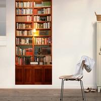 Funlife 77x200cm 3D Vivid Retro Bookcase Wall Stickers DIY Mural Study Room Classroom Library Door Poster PVC Waterproof Sticker