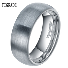 8mm Tungsten Carbide Mens Black Carbon Fiber Wedding Band Jewelry Ring Domed  Engagement