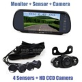 DIYKIT Video Parking Radar 4 Sensors + 7 inch Build-in LCD Display Mirror Car Monitor + 4 x LED Night Vision HD Rear View Camera