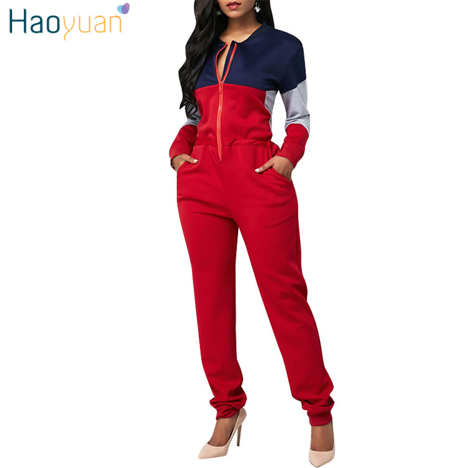 HAOYUAN Rompers Womens Jumpsuit Long Sleeve Front Zipper One Piece Casual Overall Autumn Winter Pockets Plus Size Full Bodysuit