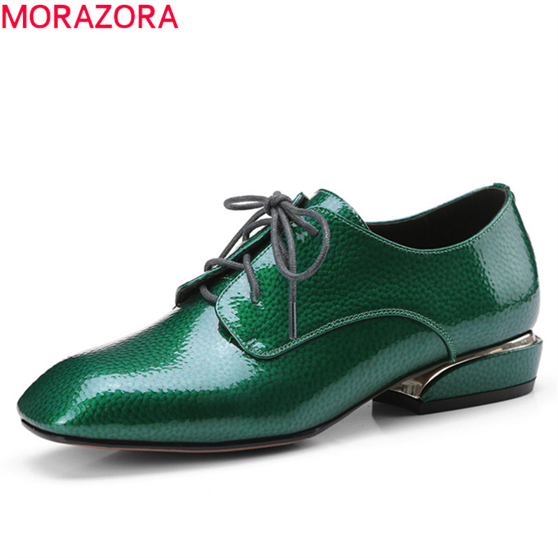 MORAZORA 2019 new arrival pumps women top quality patent leather summer shoes lace up solid colors casual Single shoes woman MORAZORA 2019 new arrival pumps women top quality patent leather summer shoes lace up solid colors casual Single shoes woman
