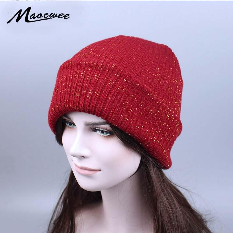 Зимние вязаные блестящие шапки для женщин, высококачественные шелковые Лыжные шапки золотого и серебряного цвета, Балаклава, лыжная маска ...