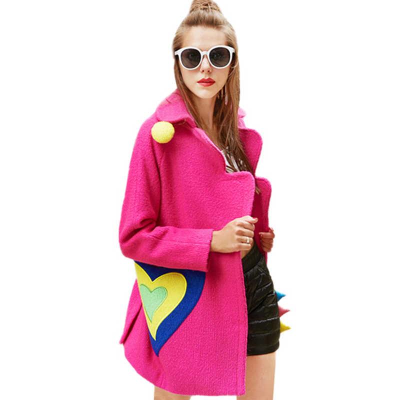 43624ae36936b 2018 Women Autumn Winter New Pink Woolen Coat Sweet Patch Designs Overcoat  Female Warm Wool Long