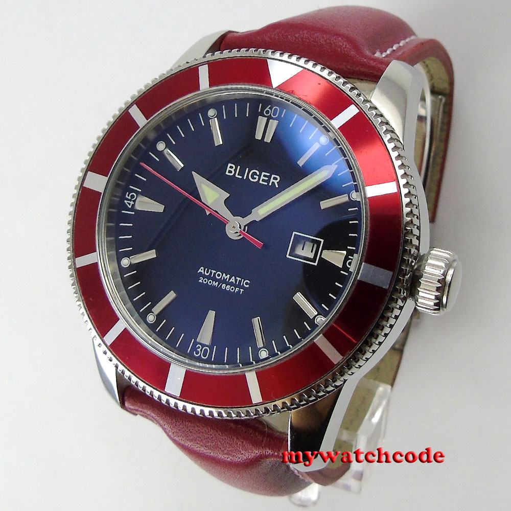 46mm bliger black dial luminous marks deployment clasp automatic mens watch B98 цена и фото