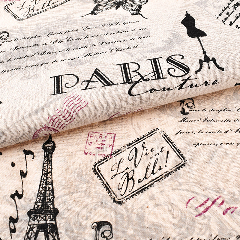Eiffel Tower Print Cotton Fabric Linen Untuk DIY Jahit Sofa Tirai Beg Cushion Furniture Cover Quilting Material Separuh Meter