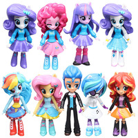 9pcs Set Princess Celestia Luna Twilight Sparkle My Little Horse Girl Action Figures Toy Christmas Gift