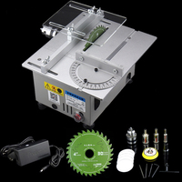 Mini Table Saw Handmade Woodworking Bench Saw DIY Hobby Model Crafts Cutting Tool with Power Supply HSS Circular Saw Blade