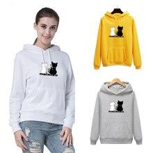 women cute cat print hoodie casual loose long sleeve hooded sweatshirts tops hooded stripe print long sleeve hoodie