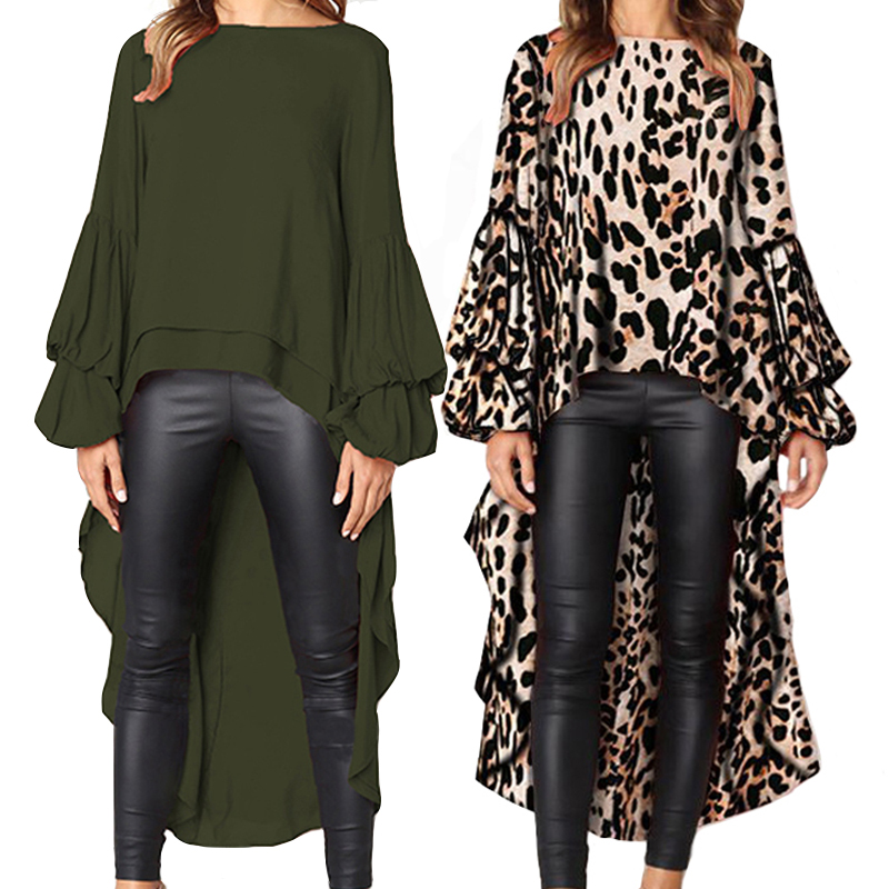 Missufe Irregular Leopard Dress Women 2018 Vestidos Autumn Long Dress Streetwear Ladies Lantern Sleeve Winter Sexy Dresses