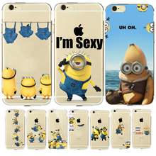Soft Clear I'm Sexy Minion Case for coque iphone 7 6 6s 5 5s TPU Rubber Silicone Case Despicable Me Yellow Minion Cover Capinhas