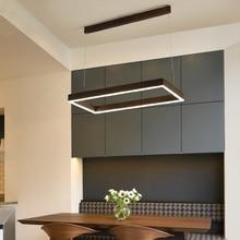 Minimalism Modern Pendant Lights LED lustres pendant lamp Brown rectangular suspension luminaire For Dining Living Room