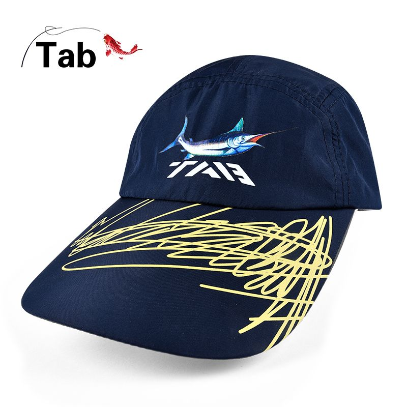 New breathable hat Quick drying sunscreen hat embroidered paragraph fish pattern thin version Outdoor cap big hat eaves