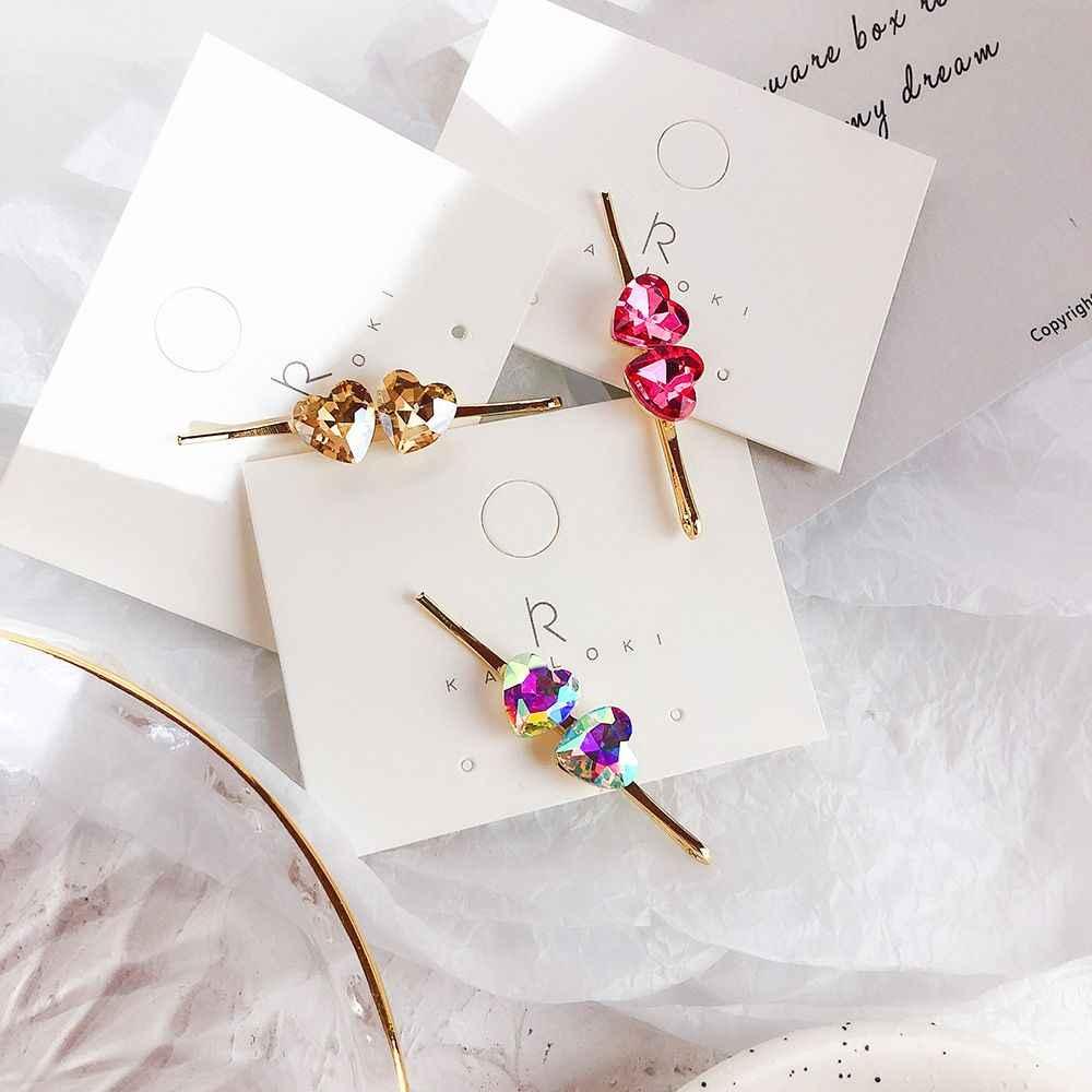 2019 קוריאה קריסטל Rhinestones ורוד לב בצורת אישה ובנות יפה שיער קליפים מתכת זהב צבע Hairgrip אבזרים לשיער