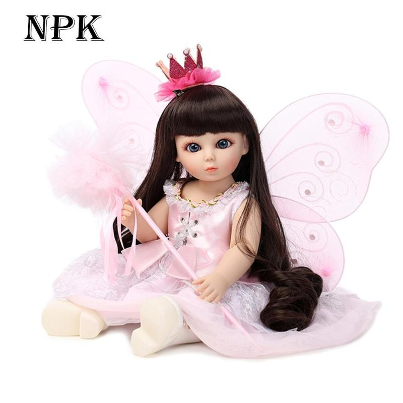 Pink Butterfly Design Girl doll Lovely Silicone 3D Realistic Simulation Reborn Baby Doll Kids Playmate For Kids girls Birthday