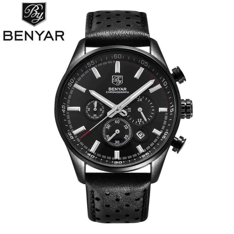Mens Luxury Watch BENYAR Men Waterproof Chronograph Leather Watches Male Sports Wristwatch Military Clock Relojes Hombre 2017 jedir brand men sports watches 2017 genuine leather military wristwatch racing men chronograph watch male glow hands clock