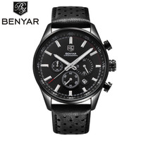 Mens Luxury Watch BENYAR Men Waterproof Chronograph Leather Watches Male Sports Wristwatch Military Clock Relojes Hombre 2017