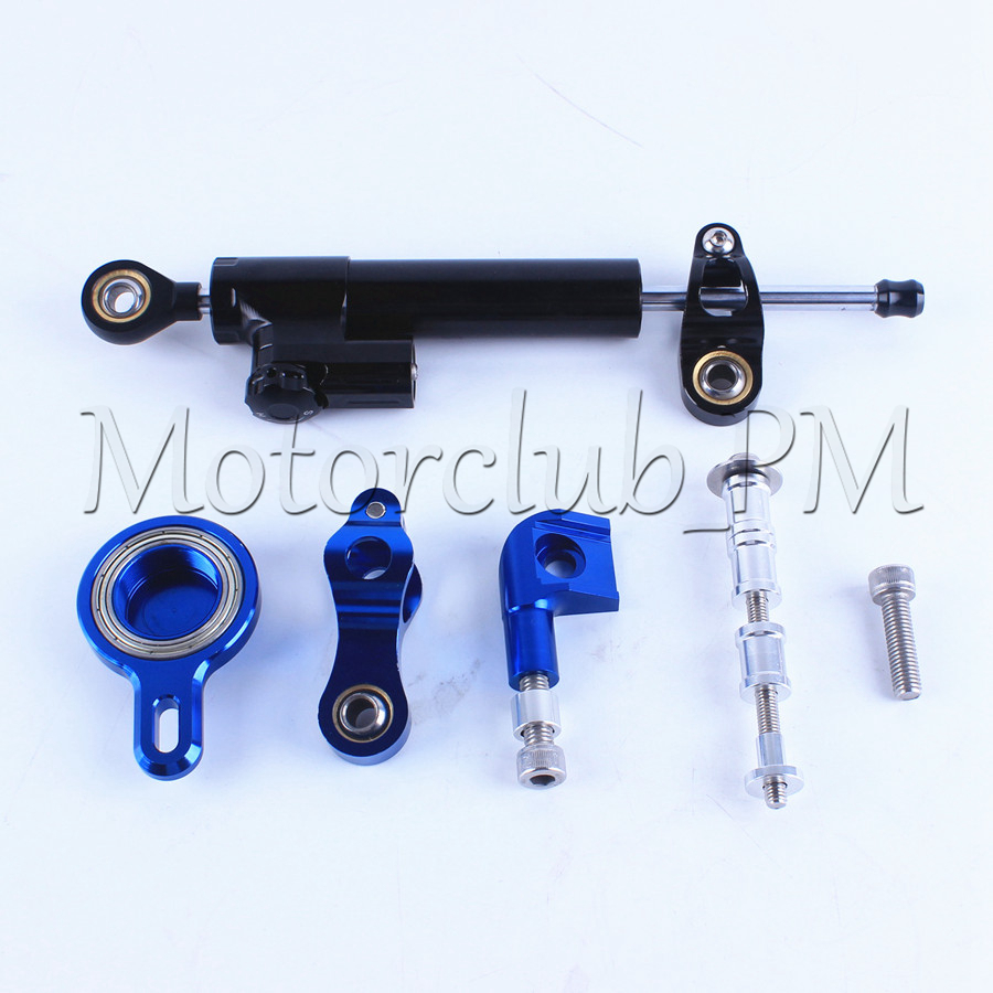 ФОТО High Quality New Motorcycle Steering Damper Stabilizer with Mounting Bracket Kit For Yamaha YZF R1 1999-2005 Blue Aluminum