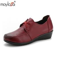 Maylosa靴女性フラッツ本革レディースフラットシューズ女