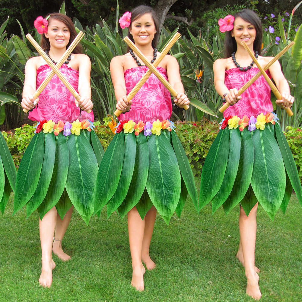 Artificial Adults Hula Skirt Hawaiian Leaf Skirt Green Grass Dance Skirt for Beach Party special for hula party Hot Sale