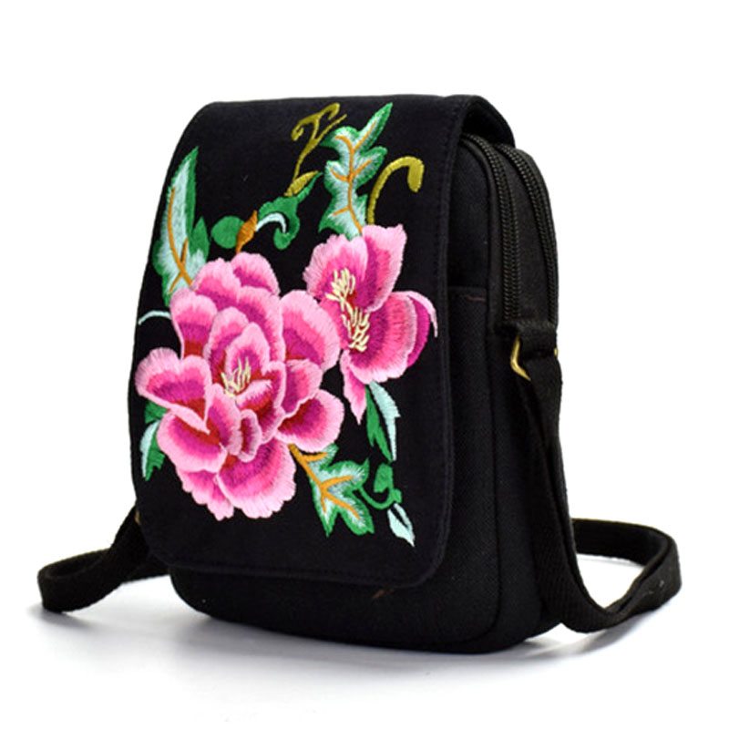 Embroidery-Bags Totes Travel-Bag Linen Canvas Ethnic Vintage Bohemia Ladies Small-Shoulder