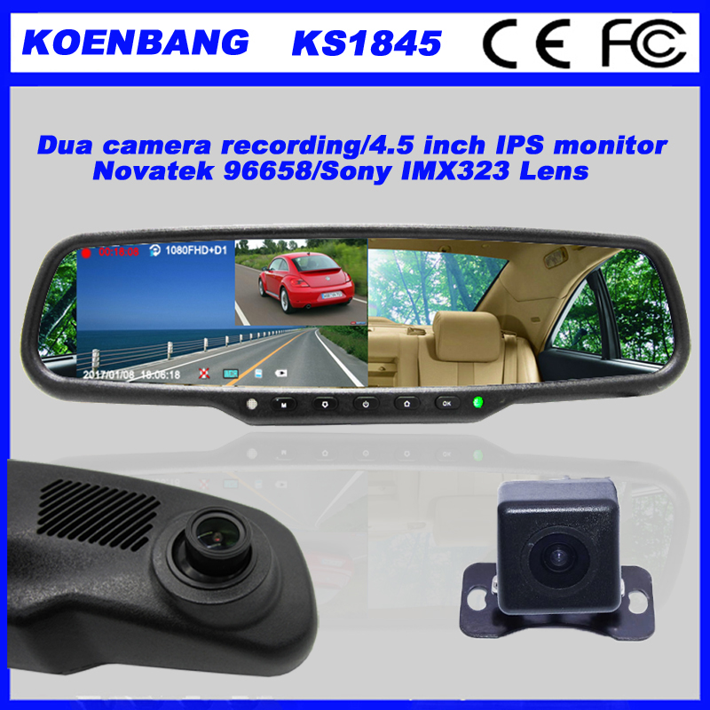 KOENBANG Full HD 1080P 150Degree 4.5 Inch IPS Screen Car DVR Video Recorder Parking Rear View Rearview Mirror Monitor 6000a 1080p 3 0mp 720p 1 3mp car dvr camcorder w 4 3 tft rearview mirror monitor black