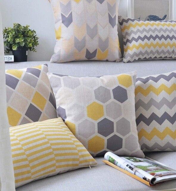 gelb grau geometrische kissen almofadas moderne nordic dekorative karierten kissen wohnkultur. Black Bedroom Furniture Sets. Home Design Ideas
