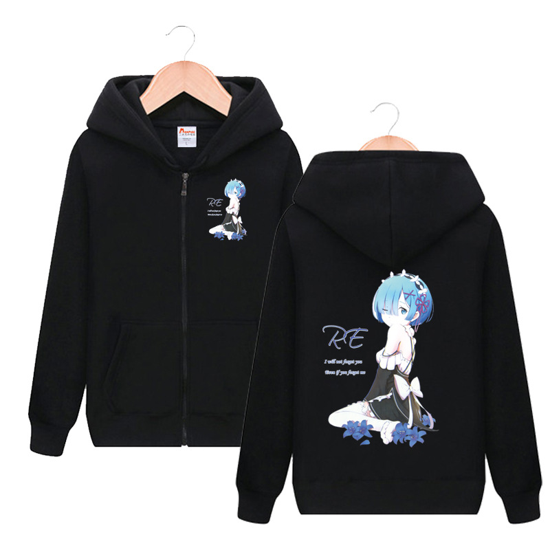 Re Life in a different world from zero Ram Rem Long Sleeve Hooded Hoodie Cosplay Costume Men Women Casual Sweatshirt Streetwear
