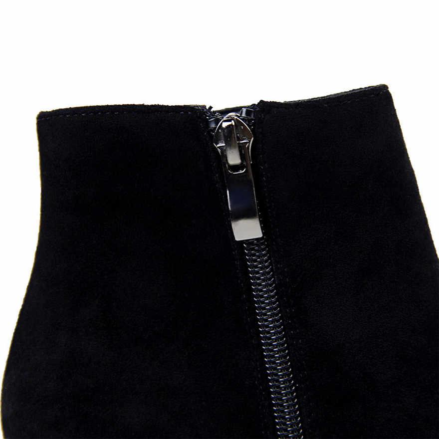 Boyutu 34-40 Kış Akın Deri Kadın siyah çizmeler Sivri kısa çizmeler Ince Zip Kadın Botları Yüksek Topuklu Bayan Moda yarım çizmeler