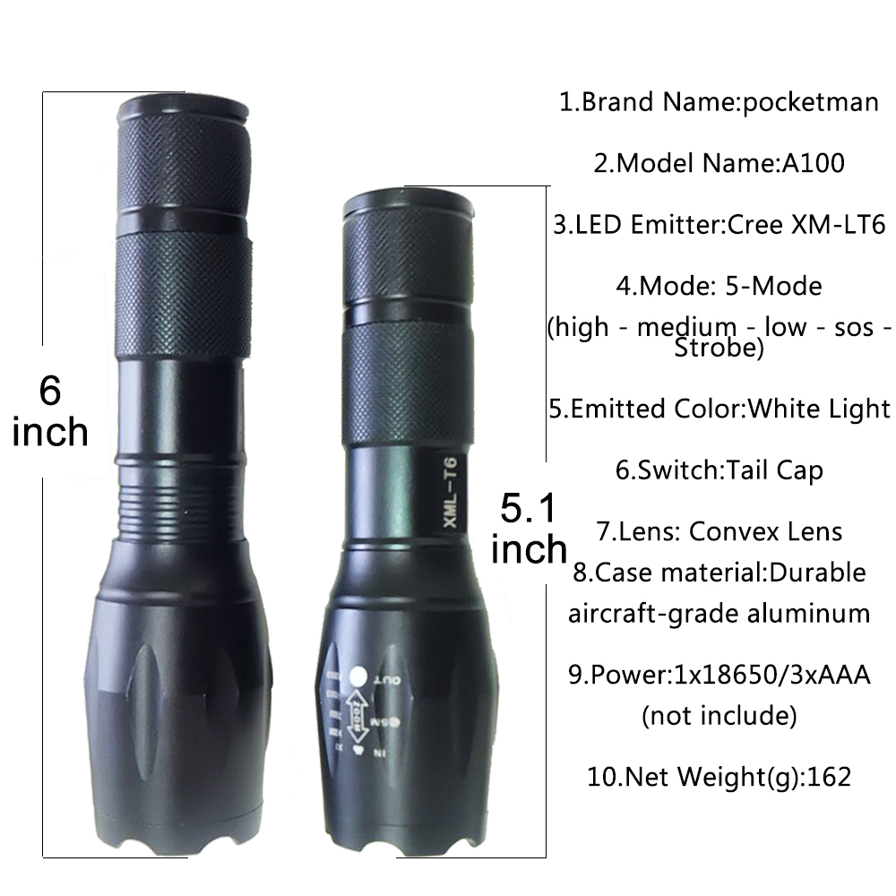 Cree xm l t6 3800 lumens led torch tactical linterna led cree xm l t6 3800 lumens led torch tactical linterna led flashlight lampe torche torch light zoomable for aa 18650 camping in flashlights torches from parisarafo Image collections