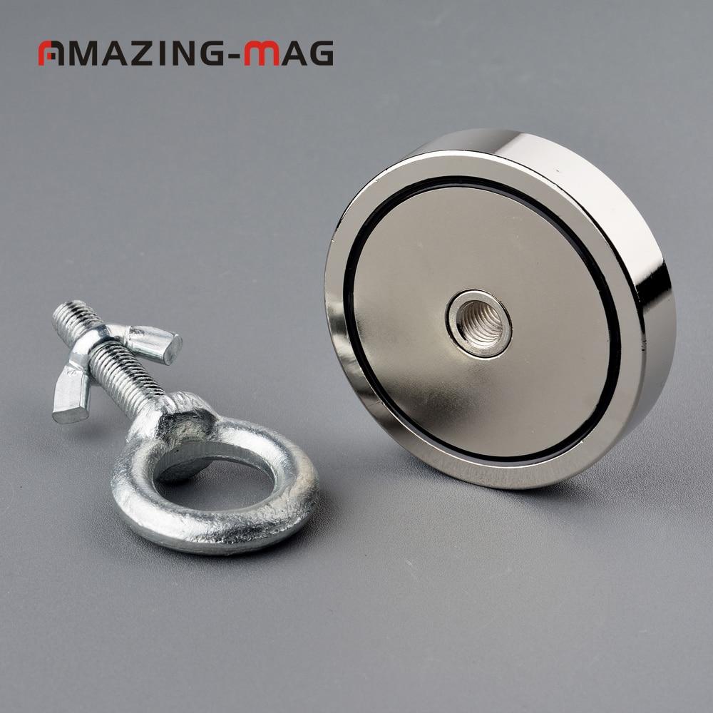 1 PC 300 KG Super Starke Neodym Magnet Angeln Salvage Magneten D74 * 16mm Holding Fixture Magnetische Basis Schatz jagd Imanes